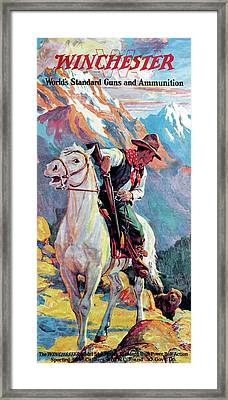 Bear Confronting Cowboy Framed Print by Frank Stick