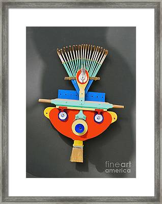 Framed Print featuring the mixed media Bear Cub Mask by Bill Thomson