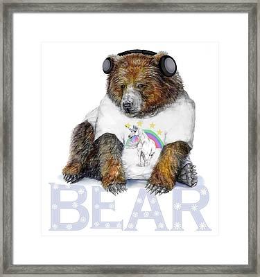 Bear Dj Framed Print by Kara Skye