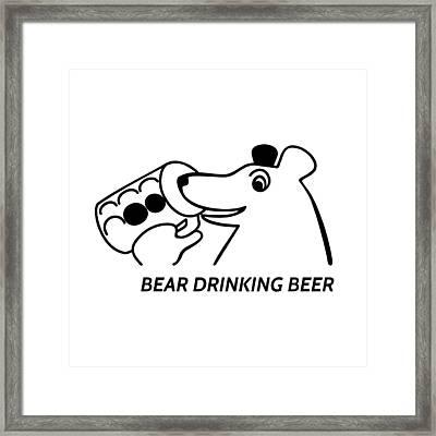 Bear Drinking Beer Framed Print