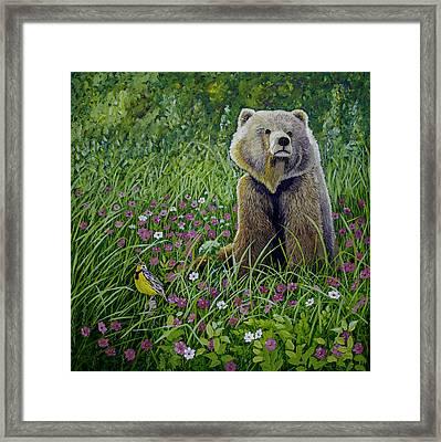 Bear Enjoying Mother Nature Framed Print by Manuel Lopez