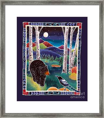 Bear Greets Magpie Framed Print by Harriet Peck Taylor