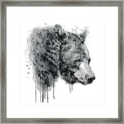 Bear Head Black And White Framed Print by Marian Voicu