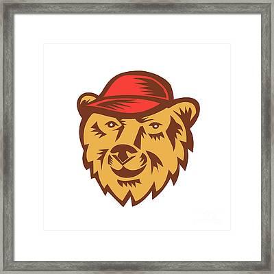 Bear Head Wearing Hat Woodcut Framed Print by Aloysius Patrimonio
