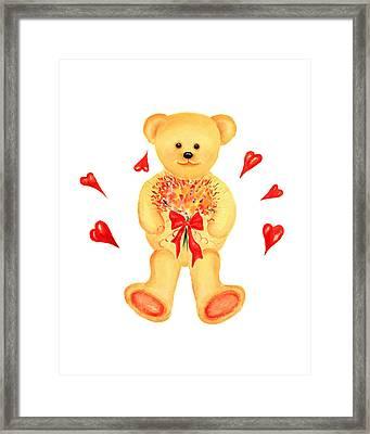 Bear In Love Framed Print