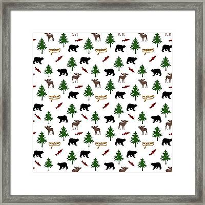 Bear Moose Pattern Framed Print by Christina Rollo