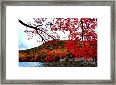 Framed Print featuring the photograph Bear Mountain Hessian Lake Autumn by Janine Riley