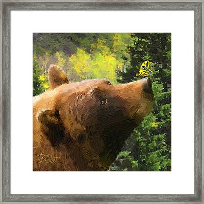 Bear - N - Butterfly Effect Framed Print by Doug Kreuger