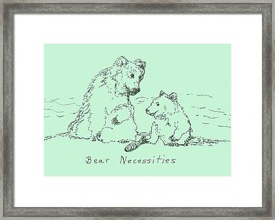 Framed Print featuring the drawing Bear Necessities by Denise Fulmer
