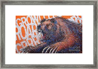Bear On Orange Framed Print by Michael Glass