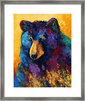 Bear Pause - Black Bear Framed Print by Marion Rose