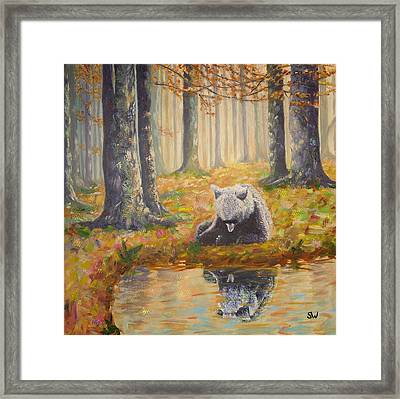 Bear Reflecting Framed Print