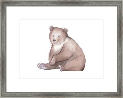 Framed Print featuring the painting Bear Watercolor by Taylan Apukovska