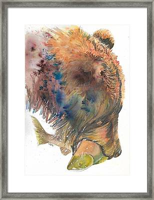 Bear With Salmon Framed Print by Tracey Hunnewell