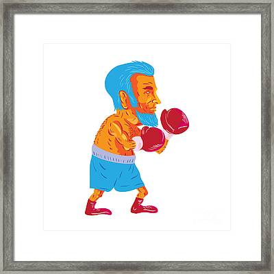 Bearded Boxer Boxing Cartoon Wpa Framed Print