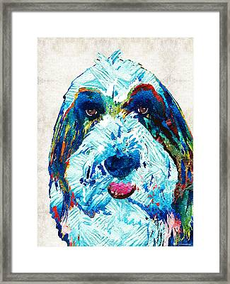 Bearded Collie Art - Dog Portrait By Sharon Cummings Framed Print by Sharon Cummings
