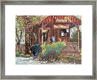 Bears At The Kaweah Post Framed Print