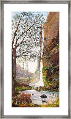 Framed Print featuring the painting Bears At Waterfall by Myrna Walsh