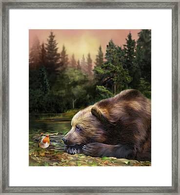 Framed Print featuring the mixed media Bear's Eye View by Carol Cavalaris