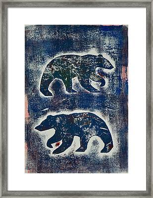 Bears In Blue  Framed Print