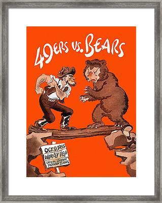 Bears V 49ers 1955 Program Framed Print by Big 88 Artworks