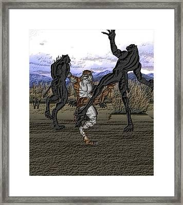 Beastcat Vs Panthermen Framed Print by Will Davis