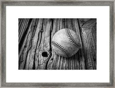 Beat Up Baseball Framed Print