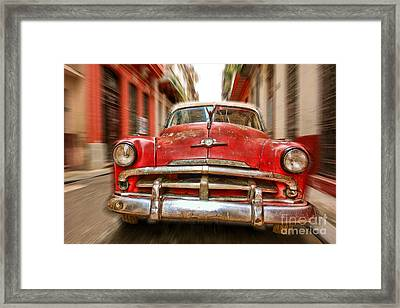 Beaten Red And White Old Cuban Auto In Havana, Cuba Framed Print by Mikko Palonkorpi