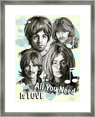 Beatles All You Need Is Love Framed Print by Gitta Glaeser