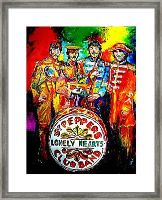 Beatles Sgt. Pepper Framed Print by Leland Castro