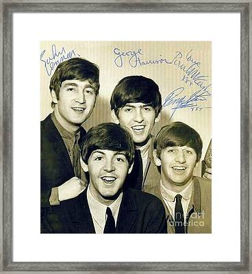 Beatles Signed Photograph Framed Print by Pd