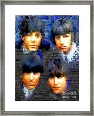 Beatles Capsule - Beatles Pop Art Canvas Framed Print