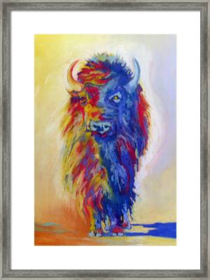 Framed Print featuring the pastel Beaus Buffalo by Pat Crowther