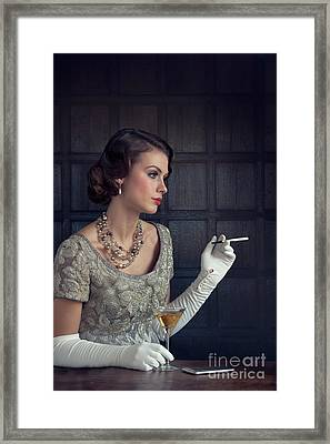 Beautiful 1930s Woman With Cocktail And Cigarette Framed Print