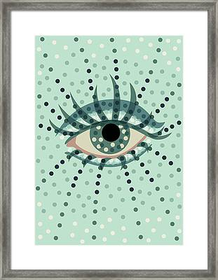 Beautiful Abstract Dotted Blue Eye Framed Print by Boriana Giormova