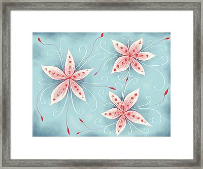 Beautiful Abstract White Red Flowers Framed Print