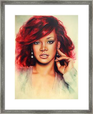 beautiful airbrush portrait of Rihanna with red hair and a face close up Framed Print by Jozef Klopacka