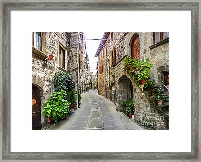 Beautiful Alleyway In The Historic Town Of Vitorchiano, Lazio, I Framed Print by JR Photography