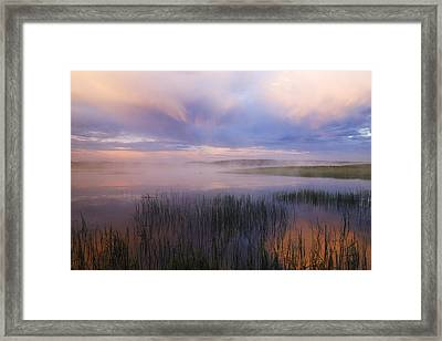 Beautiful And Dramatic Sunrise In Yellowstone National Park  Framed Print