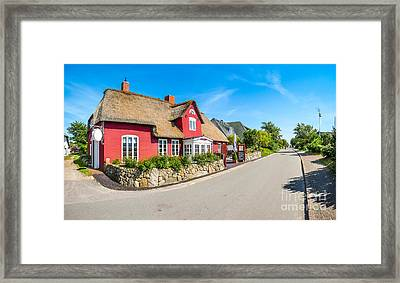 Beautiful And Traditional Thatched House In German North Sea Vil Framed Print