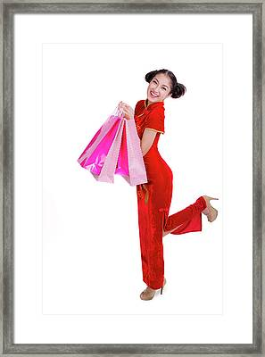 Beautiful Asia Girl Happy Smile And Shopping Framed Print by Anek Suwannaphoom