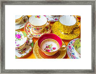 Beautiful Assortment Of Tea Cups Framed Print