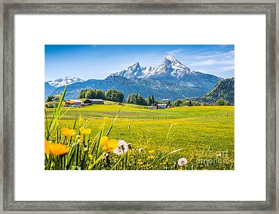 Beautiful Austrian Mountain Landscape With Flowers And Idyllic Farm Houses Framed Print