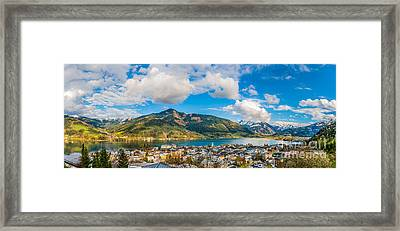 Beautiful Austrian Mountain Landscape With Lake And Idyllic Village Framed Print