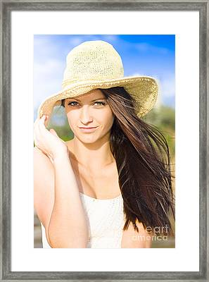 Beautiful Beach Babe With Long Brunette Hair Wearing Hat Framed Print