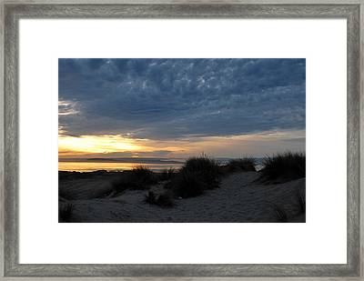 Beautiful Beach San Dunes Sunset And Clouds Framed Print