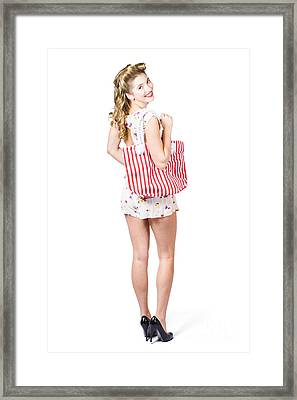 Beautiful Blond Female Shopper Holding Shop Bag Framed Print