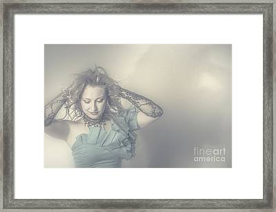 Beautiful Blond Woman With Messy Hairstyle Framed Print