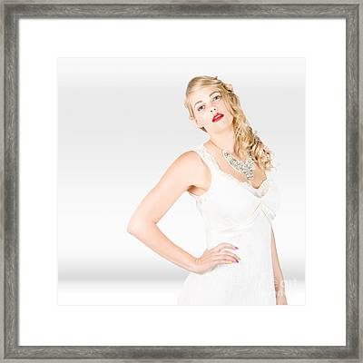 Beautiful Blonde Female Model In Wedding Fashion  Framed Print