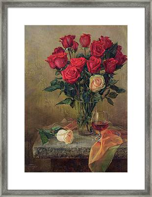 Beautiful Bouquet Of Roses Framed Print